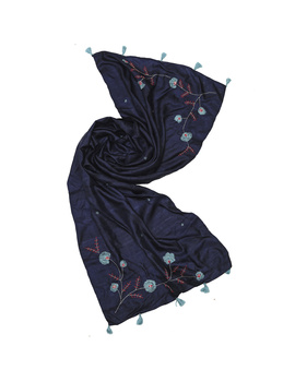 Hand embroidered stole in blue silk: WAS01B-3-sm