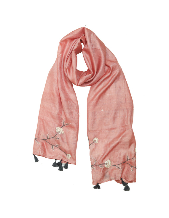 Hand embroidered stole in peach silk: WAS01A-WAS01A