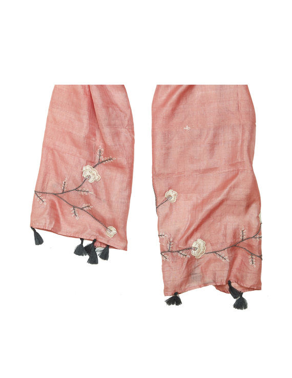Hand embroidered stole in peach silk: WAS01A-3
