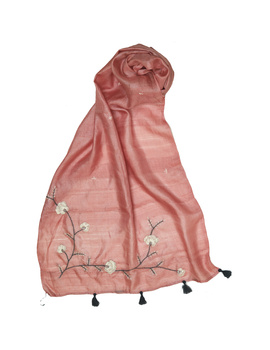 Hand embroidered stole in peach silk: WAS01A-1-sm
