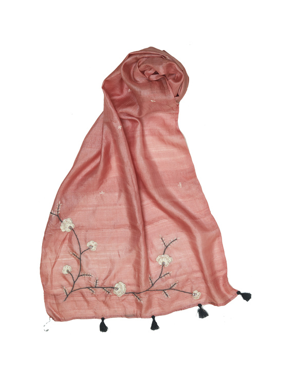 Hand embroidered stole in peach silk: WAS01A-1