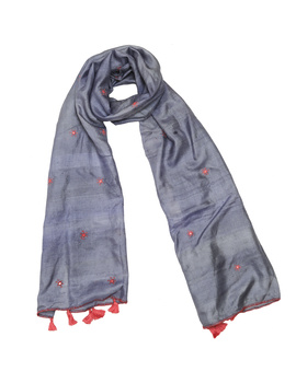 Hand embroidered stole in grey silk: WAS01D-WAS01D-sm