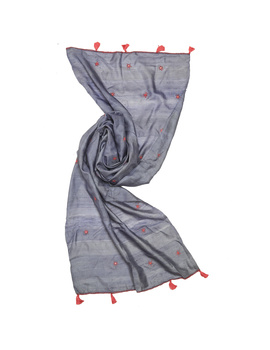Hand embroidered stole in grey silk: WAS01D-3-sm