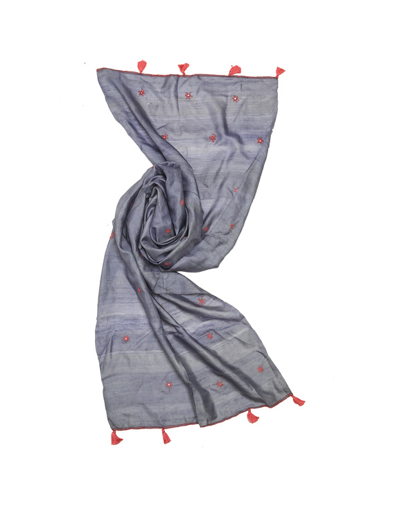 Hand embroidered stole in grey silk: WAS01D-3