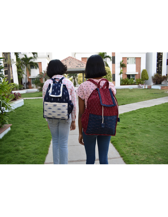 Maroon ikat backpack laptop bag : LBB02-4
