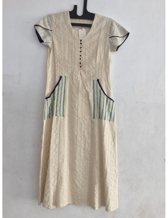 Offwhite semi linen fabric in green design-SK05