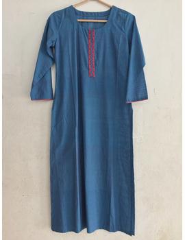 Blue Mangalagiri cotton kurta with hand embroidered-SK10-sm
