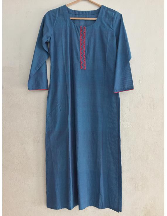 Blue Mangalagiri cotton kurta with hand embroidered-SK10