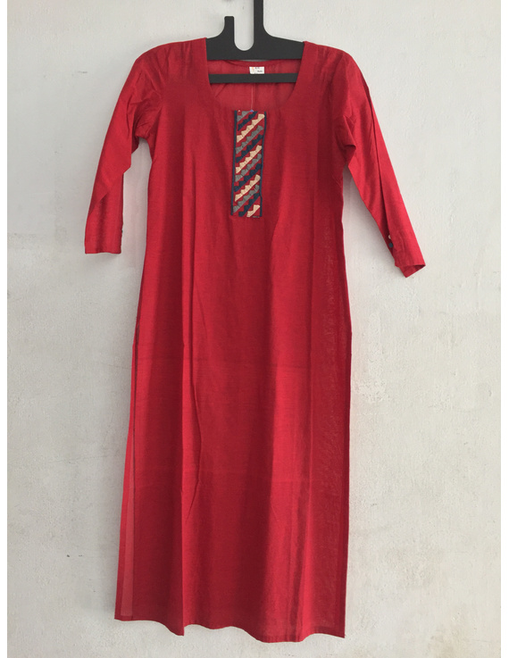 red Mangalagiri cotton kurta with hand embroidered design-SK11