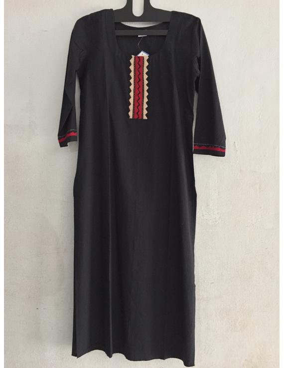 Black Mangalagiri cotton kurta with hand embroidered-SK13-SK13
