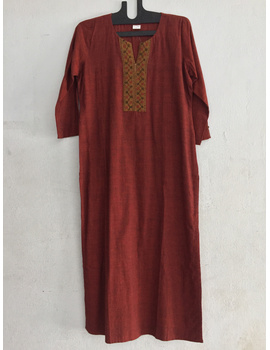 Brick red Mangalagiri cotton kurta with hand embroidered-SK15-SK15-sm