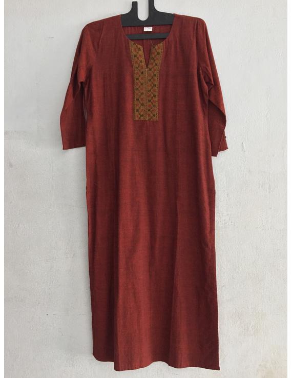 Brick red Mangalagiri cotton kurta with hand embroidered-SK15-SK15