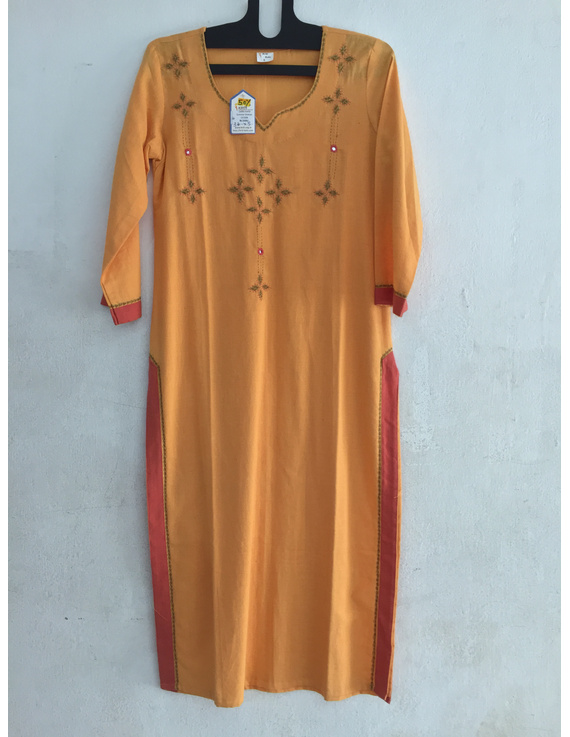yellow Soft handloom cotton kurta-SK18-SK18-XL