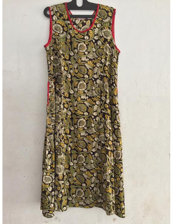 Green Sleeveless screen printed kalamkari dress-SK19-SK19