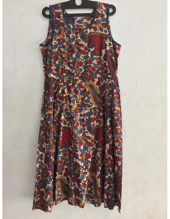 Sleeveless screen printed kalamkari dress-SK22-SK22
