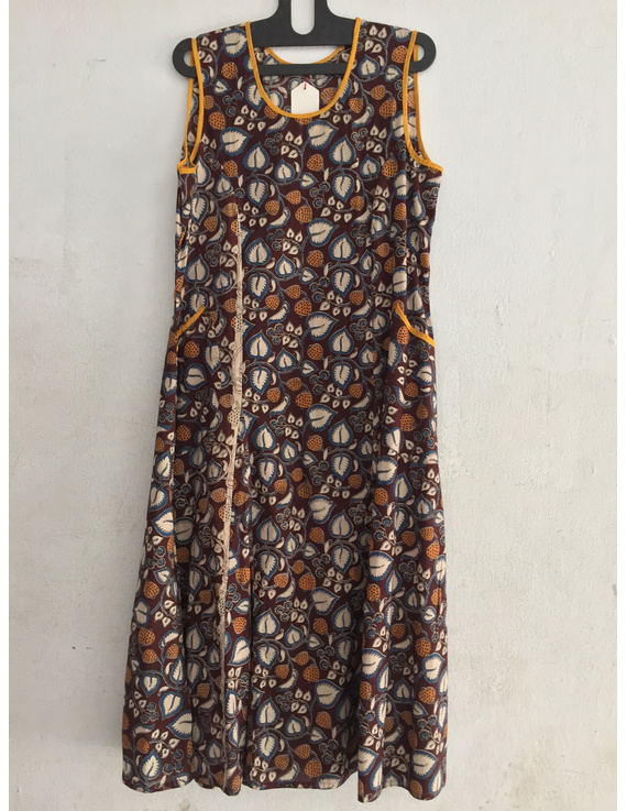 Sleeveless screen printed kalamkari dress-SK23