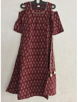 maroon Cold shoulder ikat dress-SK33-sm