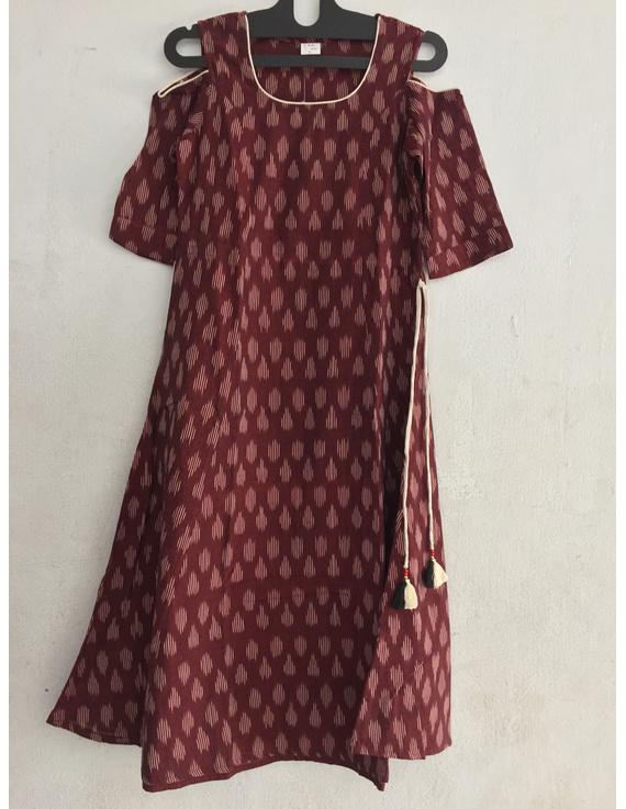 maroon Cold shoulder ikat dress-SK33