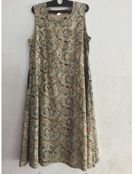 Sleeveless kalamkari cotton dress in a princess cut style-SK37-sm