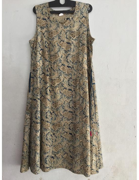 Sleeveless kalamkari cotton dress in a princess cut style-SK37