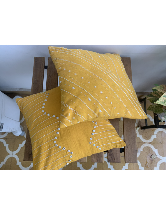 Mustard mirror embroidered cushion cover : HCC19-1