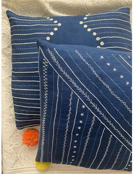 Indigo hand embroidered cushion cover : HCC18-1-sm