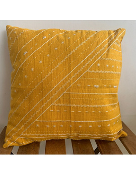 Mustard hand embroidered cushion cover : HCC17-HCC17-sm