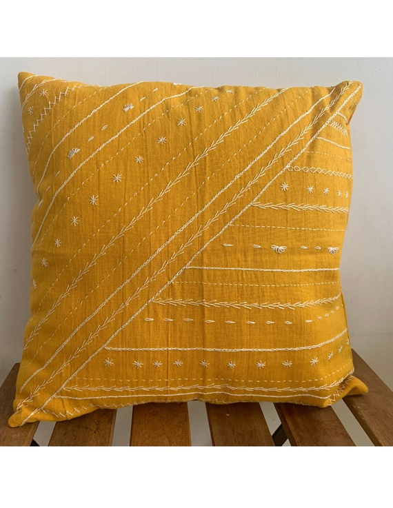 Mustard hand embroidered cushion cover : HCC17-HCC17