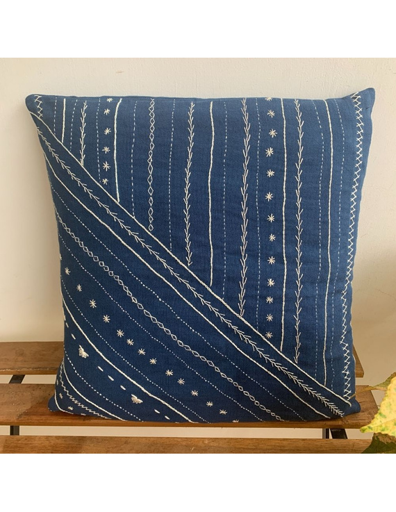 Indigo hand embroidered cushion cover : HCC18-HCC18