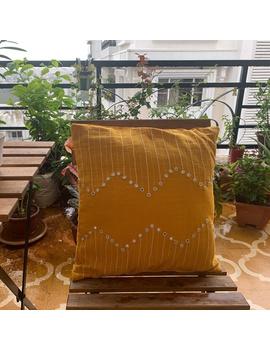 Mustard mirror embroidered cushion cover : HCC19-HCC19-sm