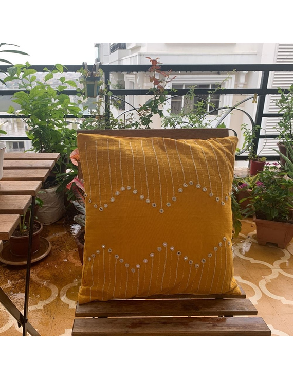 Mustard mirror embroidered cushion cover : HCC19-HCC19
