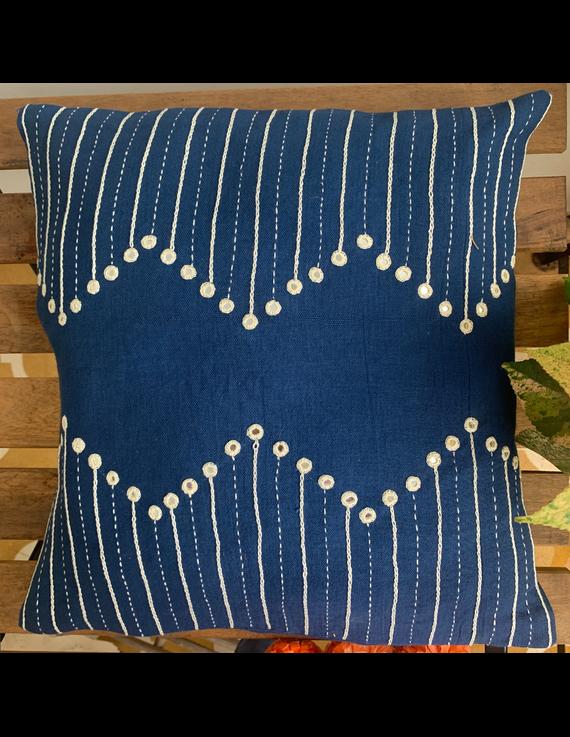 Indigo mirror embroidered cushion cover : HCC20-HCC20