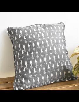 Grey mercerised ikat cushion cover : HCC21-HCC21-sm