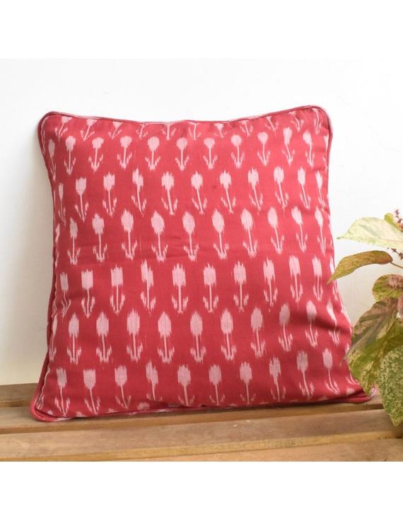Red mercerised ikat cushion cover : HCC23-HCC23