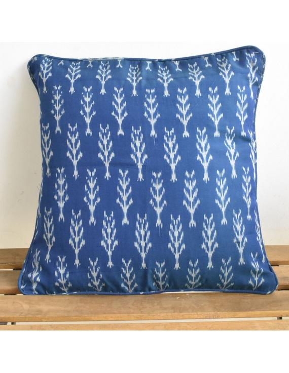 Blue mercerised ikat cushion cover : HCC22-HCC22