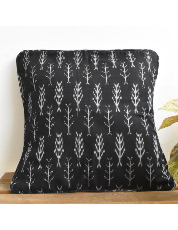 Black mercerised ikat cushion cover : HCC24-HCC24