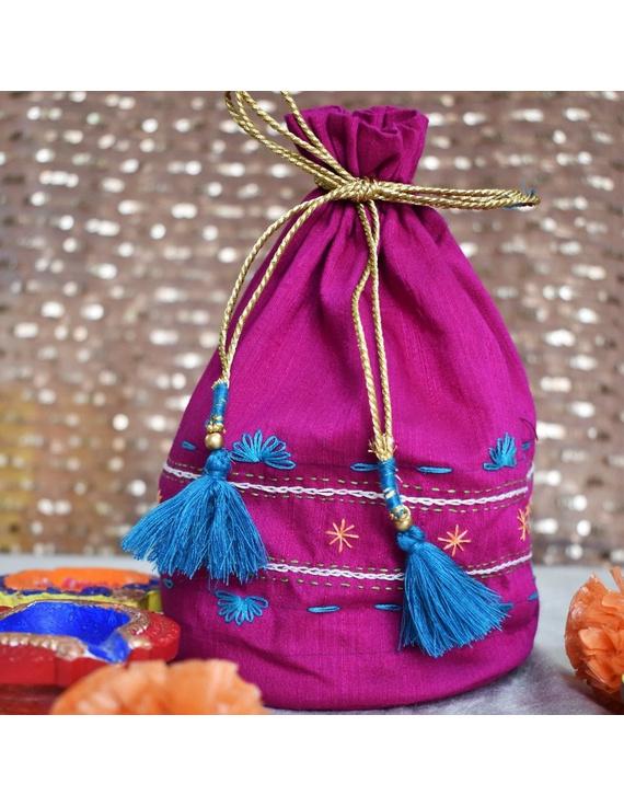Purple Silk potli bag : MSP03-MSP03