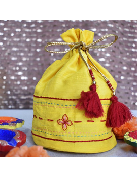 Yellow Silk potli bag : MSP02-MSP02-sm