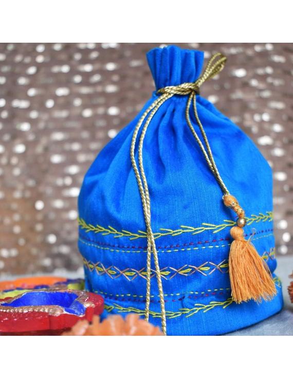 Blue Silk potli bag : MSP01-MSP01