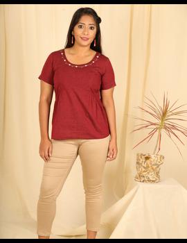 Maroon cotton short top with round neck-LB150B-LB150B-sm