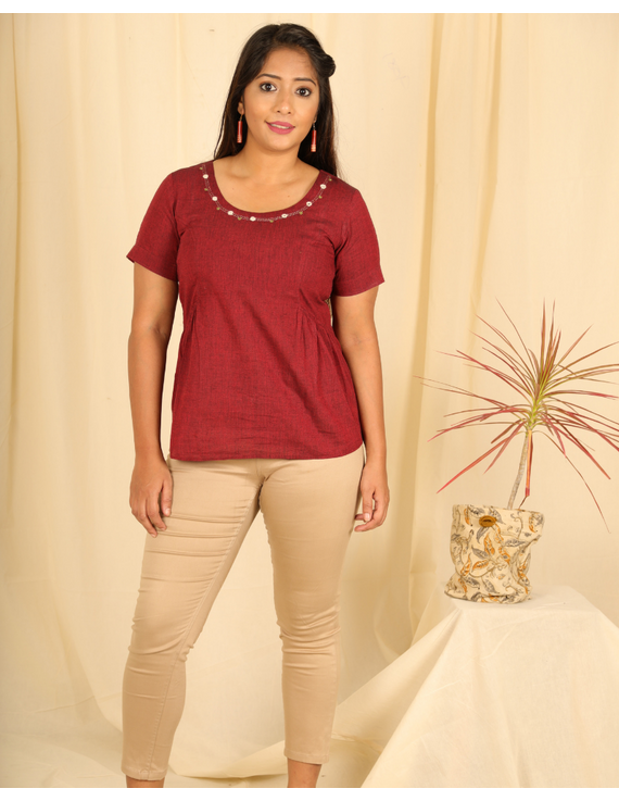Maroon cotton short top with round neck-LB150B-LB150B