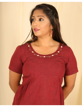 Maroon cotton short top with round neck-LB150B-S-1-sm