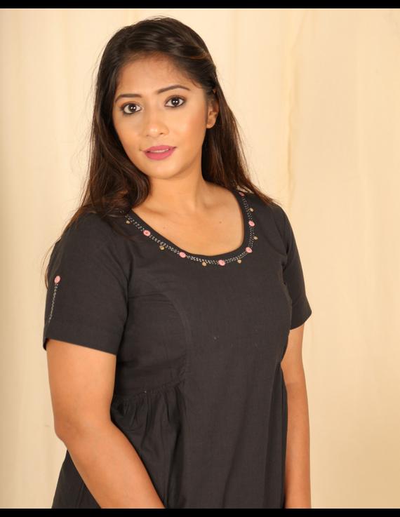 Black cotton short top with round neck-LB150C-LB150C-XS