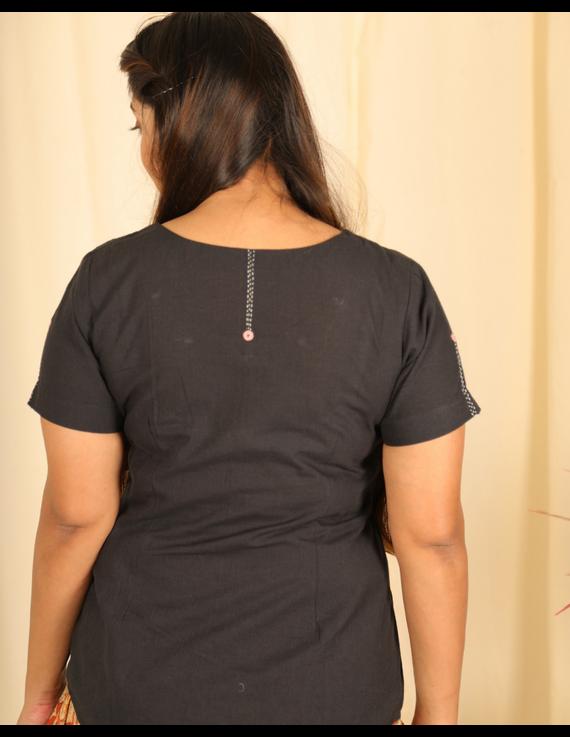 Black cotton short top with round neck-LB150C-XS-2