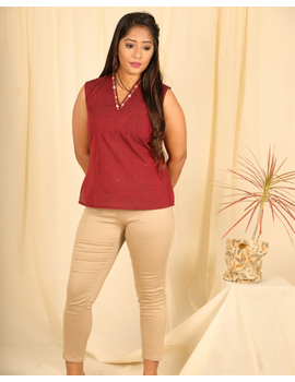 Maroon cotton short top with embroidered V neck-LB160B-LB160B-XS-sm