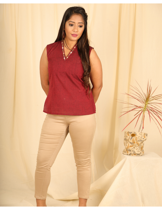 Maroon cotton short top with embroidered V neck-LB160B-LB160B-XS