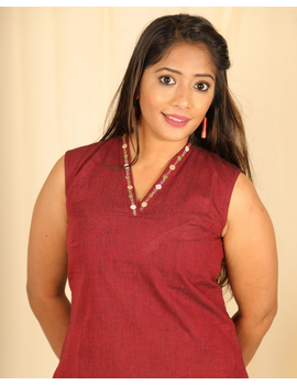 Maroon cotton short top with embroidered V neck-LB160B-XS-1-sm