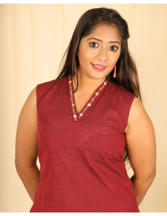 Maroon cotton short top with embroidered V neck-LB160B-XS-1