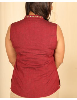 Maroon cotton short top with embroidered V neck-LB160B-XS-2-sm