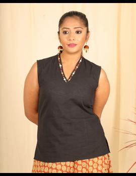 Black cotton short top with embroidered V neck-LB160C-LB160C-S-sm